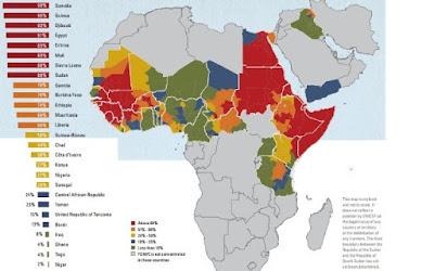 Mapa da mutilação genital feminina na África e Oriente Médio