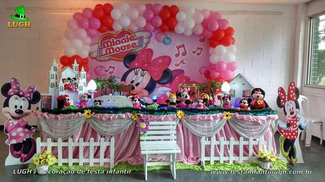 Mesa temática tradicional luxo de tecido - Decoração mesa de aniversário Minnie rosa para festa infantil feminina