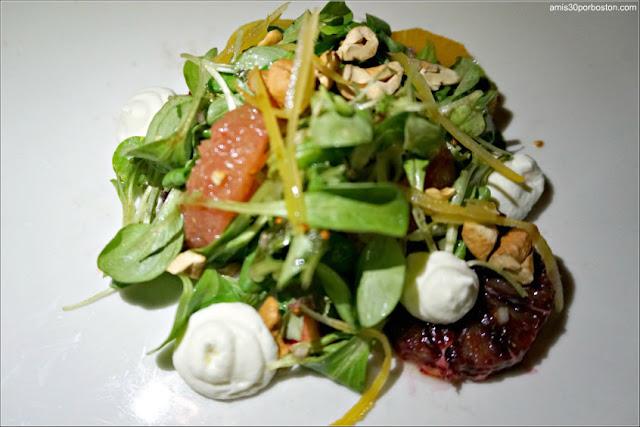 Winter Citrus Salad: Parsnip & fennel mousse, pickled zest, mâche, toasted cashews, tarragon vinaigrette