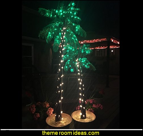 Palm Trees with Lights  Tropical party decorations - tropical party ideas - ALOHA Hawaii Luau Party Decorations - Luau Hawaiian Grass Table Skirt raffia Decorations - Hula Hibiscus Tropical Birthday Summer Pool Party Supplies - tiki party pineapple party decorations - beach party - Birthday party  photo backdrop - tropical themed cake decorations - beach tiki themed table decorations -  party props - summer party