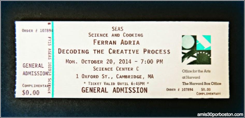 Entrada para el Sorteo de Ferran Adrià En Harvard. Science & Cooking 2014