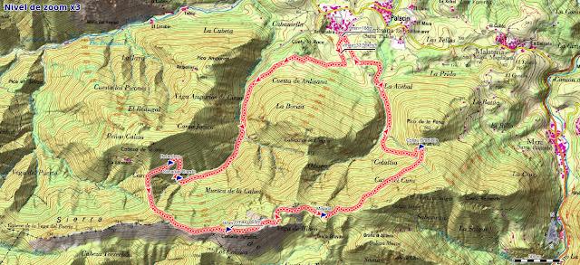 Mapa de la ruta Ardisana Pico Hibeo
