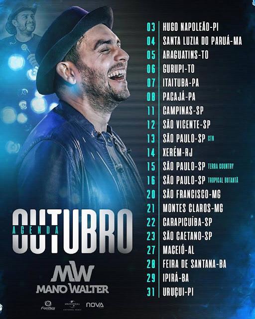 Agenda de Shows cantor Mano Walter Outubro  - 2017