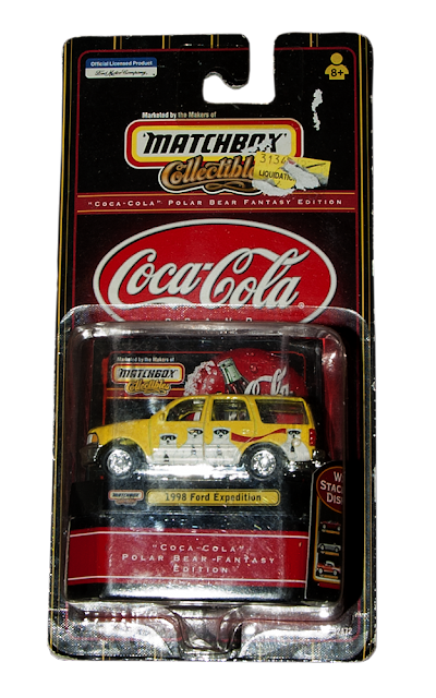 A 1998 Ford Expedition from Matchbox with the Coca-Cola Polar Bear.