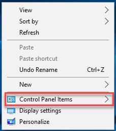Cách thêm các chỉ mục Control Panel vào menu chuột phải desktop