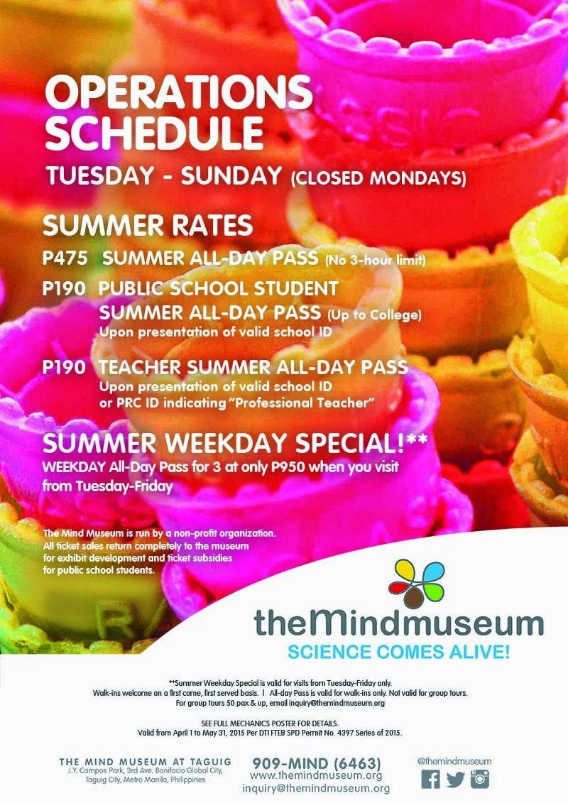 Mind Museum Summer 2015 Ticket Rates