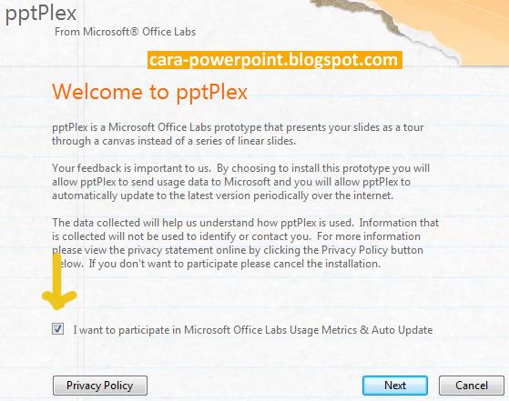 Cara Instal pptPlex di Powerpoint