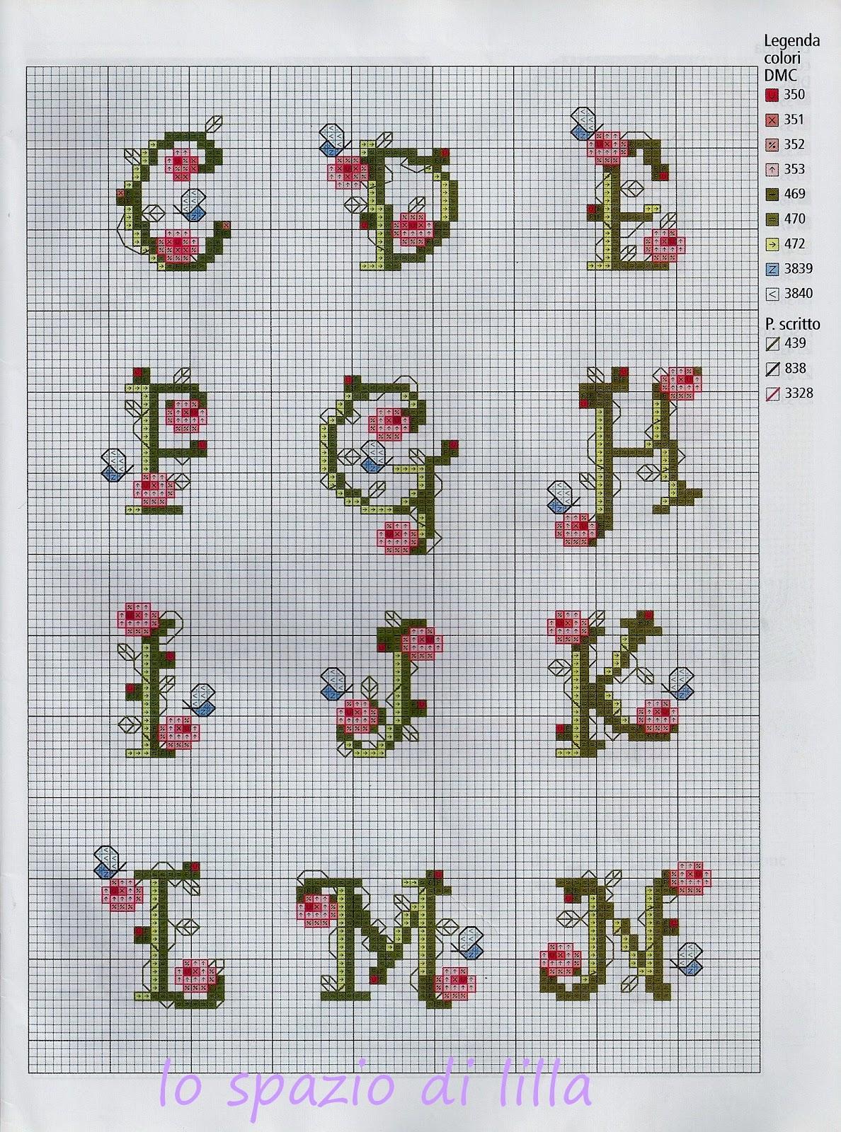 Lo spazio di lilla schemi punto croce l 39 alfabeto floreale for Schemi a punto croce gratis
