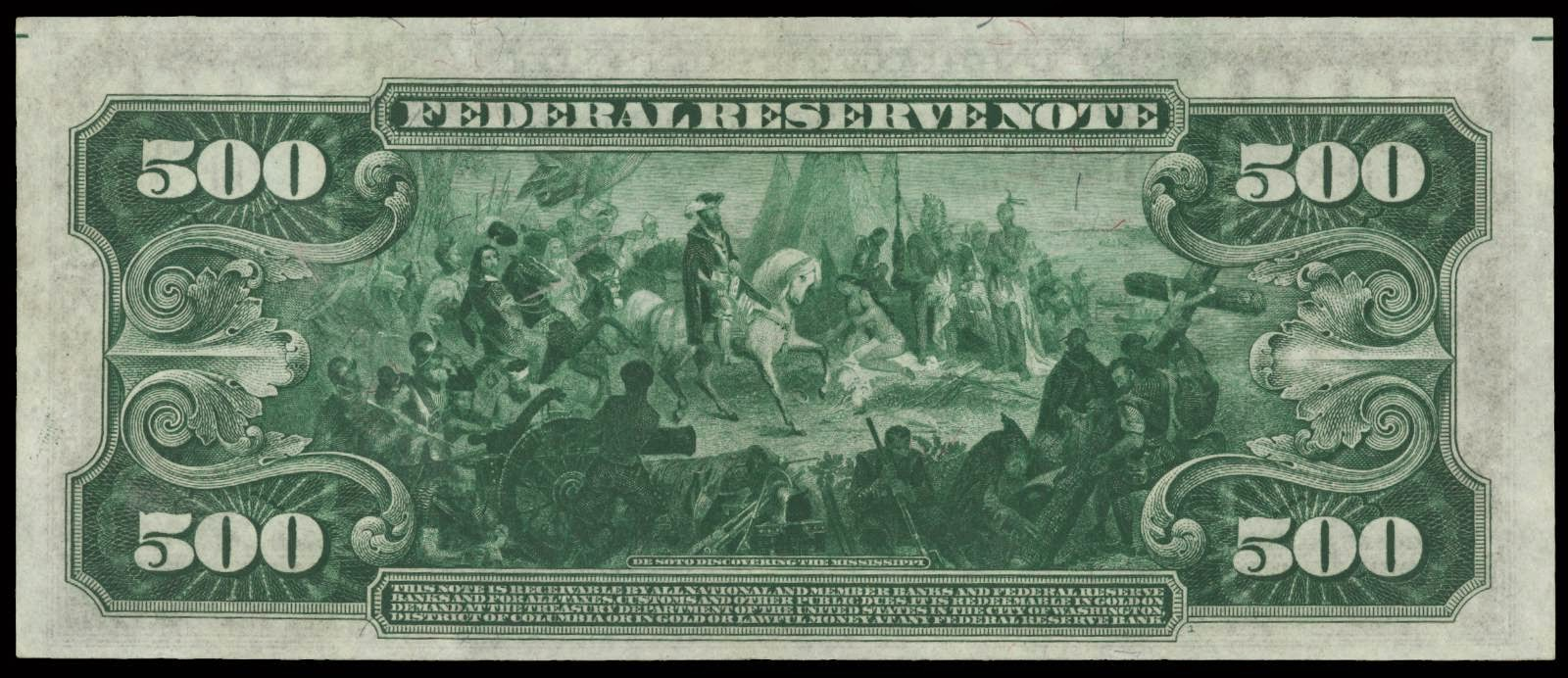 500 Dollars Note De Soto discovering the Mississippi