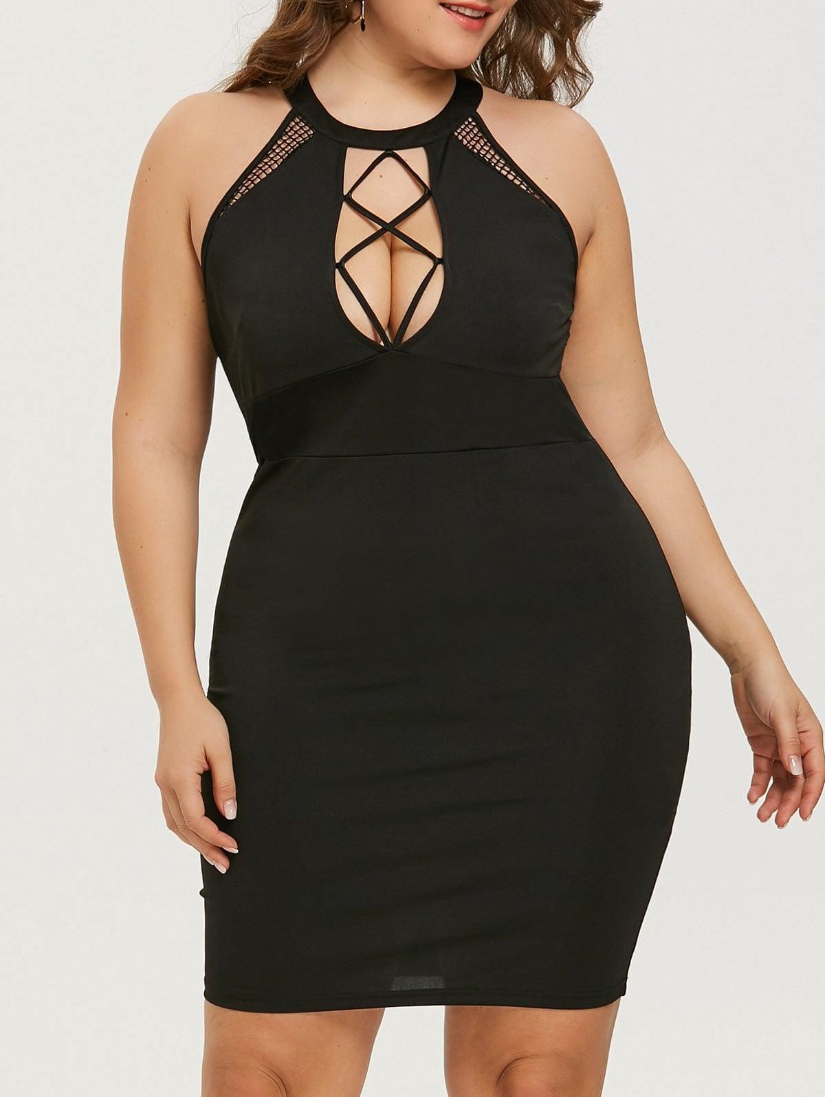 Cut Out Plus Size Mini Bodycon Dress
