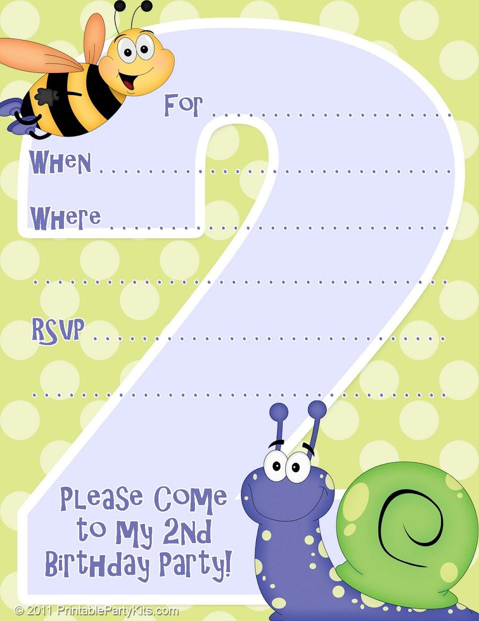 2nd Birthday Invitation Templates Printable Invitations