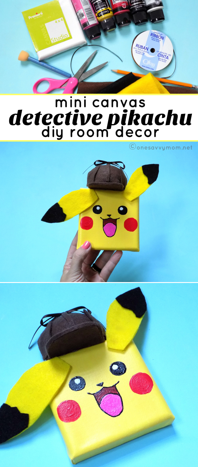 Detective Pikachu Mini Canvas Craft For Kids DIY Room Decor