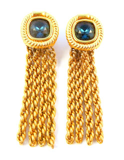 Vintage Blue Crystal Tassel Rope Chain Drop Clip On Earrings By Swarovski.
