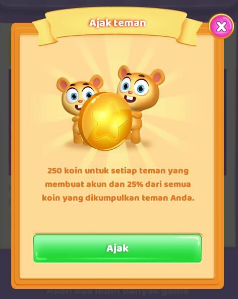 Hadiah yang diberikan yaitu 250 Koin/member yang berhasil diajak dan Anda akan memperoleh 25% dari penghasilan teman yang berhasil Anda ajak.