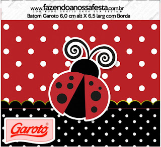 Ladybug Party Free Printable Candy Bar Labels.