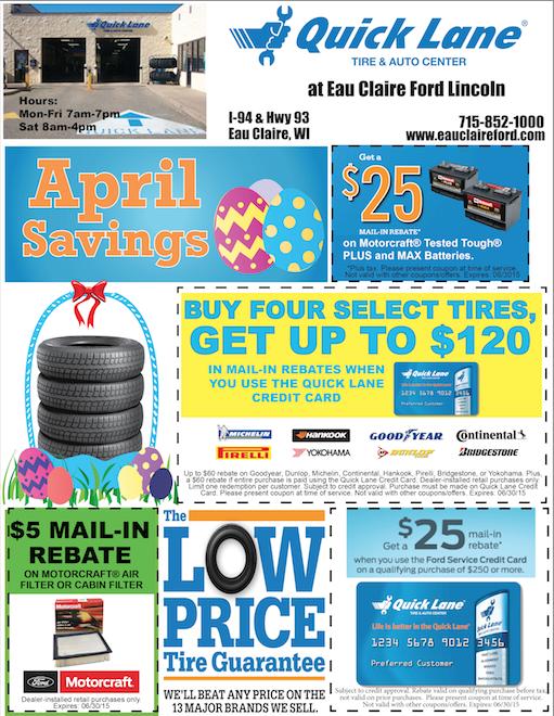 eau claire ford lincoln quick lane nice news april service specials. Black Bedroom Furniture Sets. Home Design Ideas