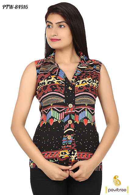 Muulti Color Office Wear Formal Ladies Printed Chiffon Shirt for Girls Online Shopping with Cheap Price