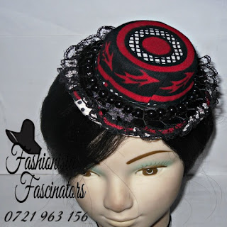 Buy red African print fascinator mini hat Nairobi Kenya