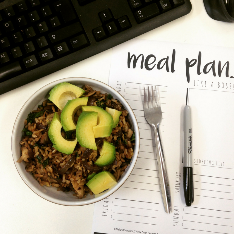 meal plan printable and avocado lunch