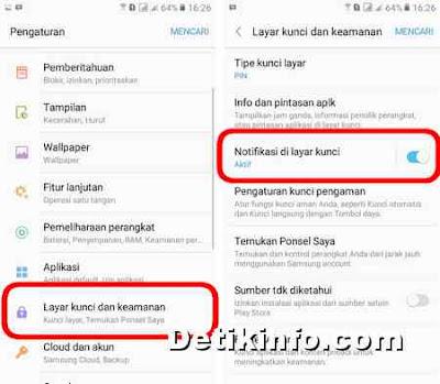 Cara mematikan Notifikasi di layar terkunci HP Samsung