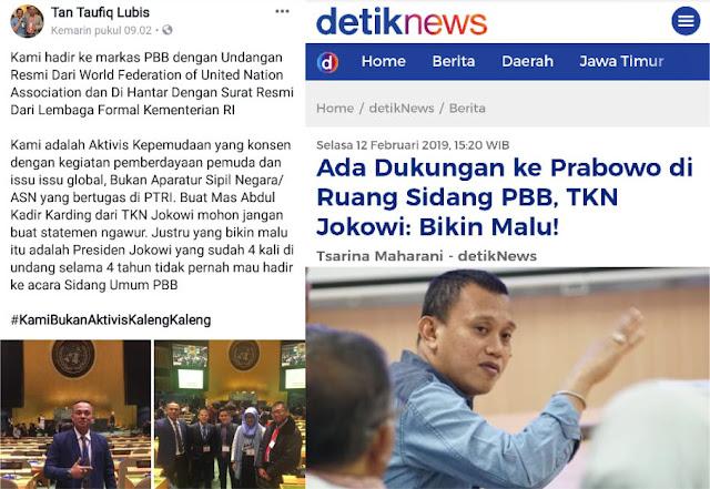 Disebut TKN Jokowi Bikin Malu, Aktivis Pendukung Prabowo di Markas PBB Beri Jawaban Telak!