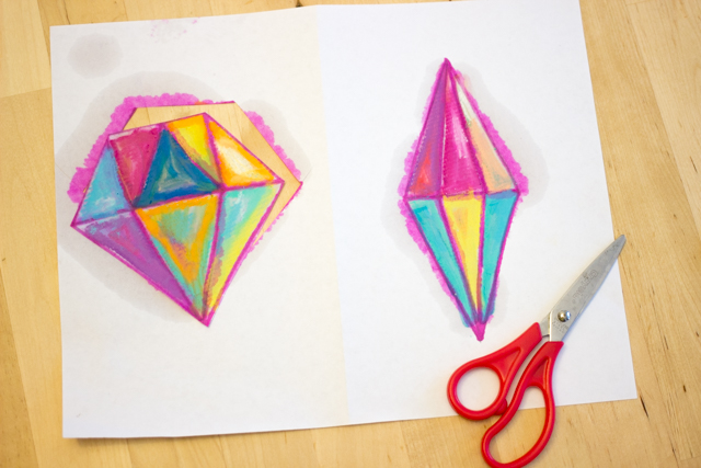 """Painting"" with oil pastels to create beautiful ""crystal"" sun catchers with kids"