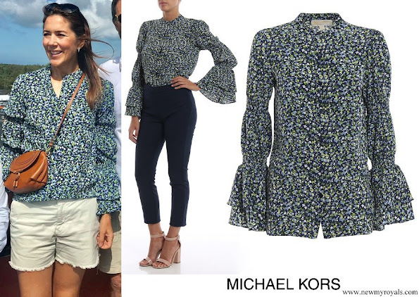 Crown Princess Mary wore Michael Kors floral print crepe shirt with bell cuffs