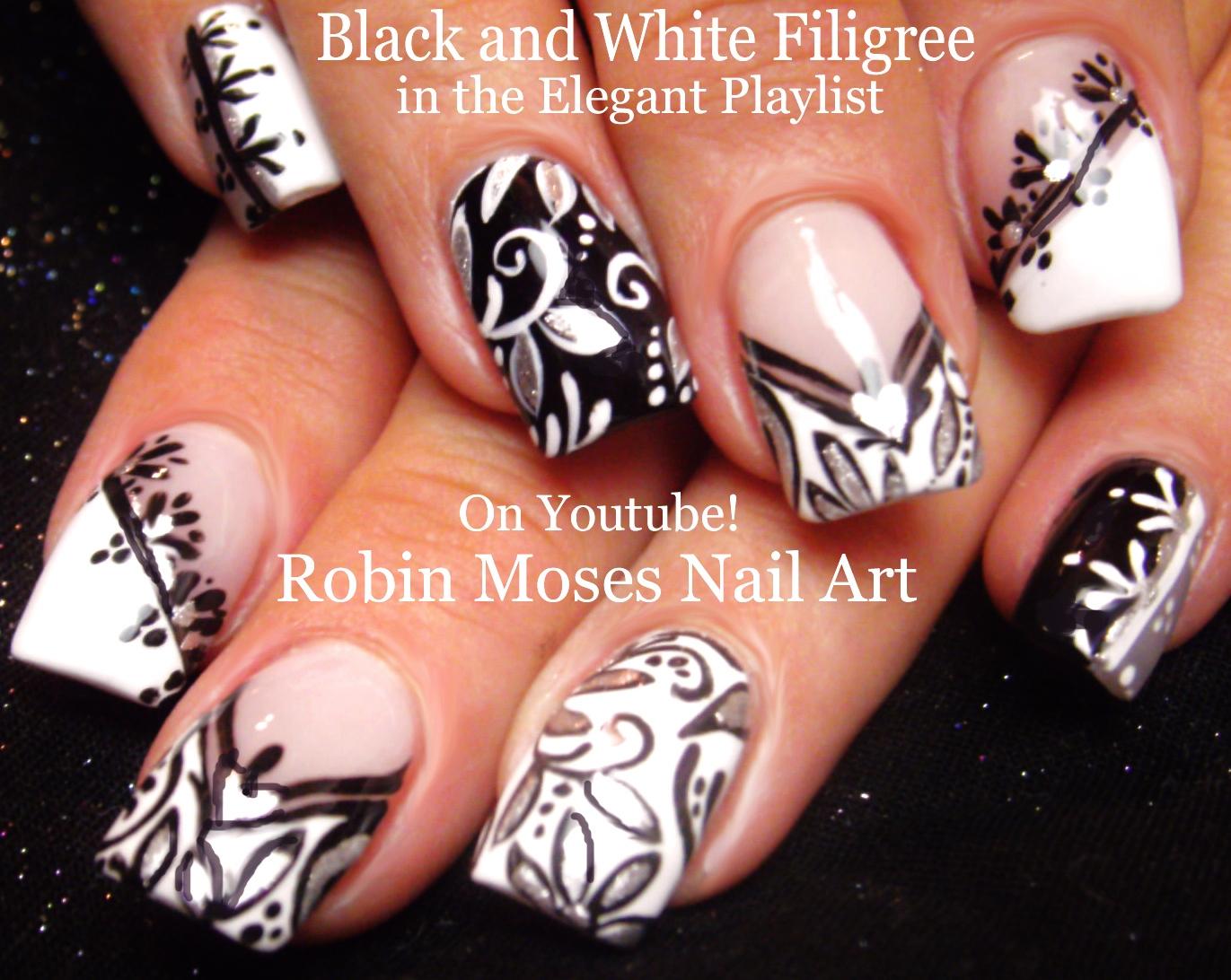 """Nail Art by Robin Moses: Black and white Nail art! """"black ..."""