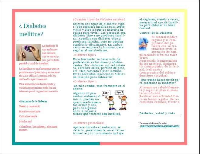 triptico en word de diabetes