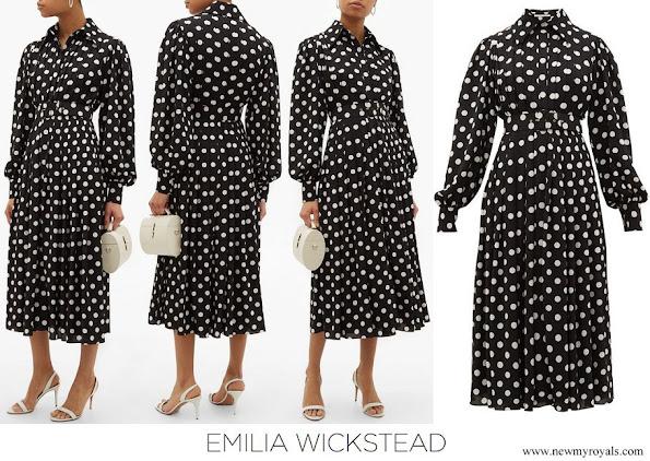 Kate Middleton wore Emilia Wickstead Anatola pleated polka dot crepe shirtdress