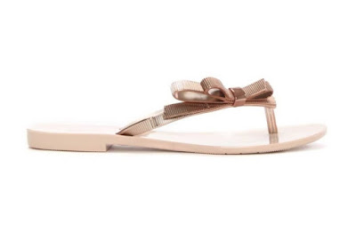 Melissa Rose Blush rubber flipflops with bows