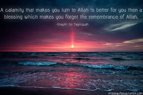 Picture Quotes: A calamity that makes you turn to Allah is better for you