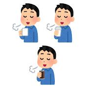いろいろなコーヒーで一服している人のイラスト(男性)