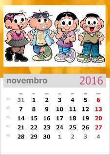 Calendário Turma da Mônica 2016 Novembro