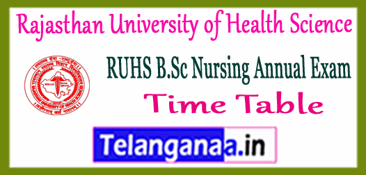 RUHS Rajasthan University of Health Science B.Sc Nursing Time Table 2018 Downlaod Here