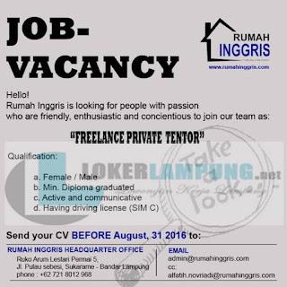 Job Vacancy From Rumah Inggris Bandar Lampung August 2016
