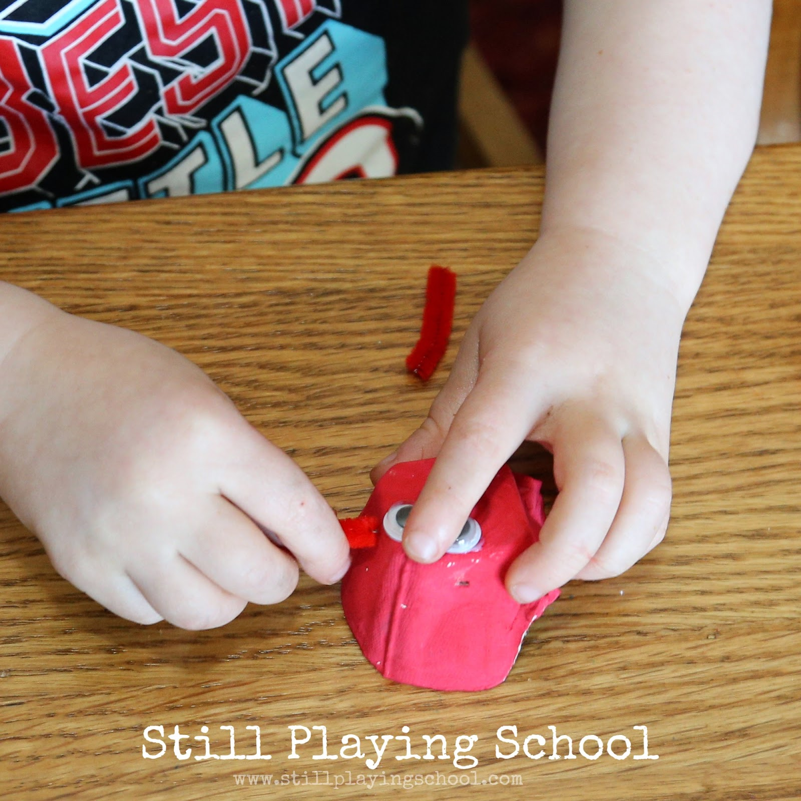Egg Carton And Cupcake Liner Dinosaur Craft Still Playing School