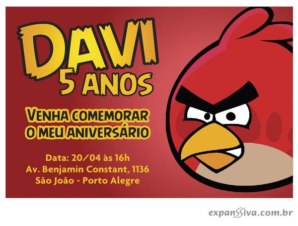 Convite de Aniversário Criativo Angly Birds