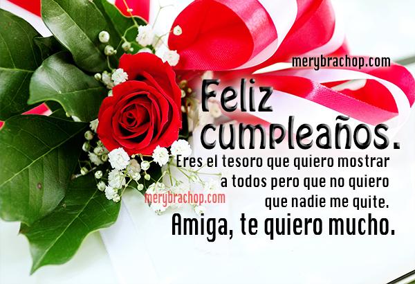 bello mensaje de cumpleaños para amiga linda imagen con rosas rojas