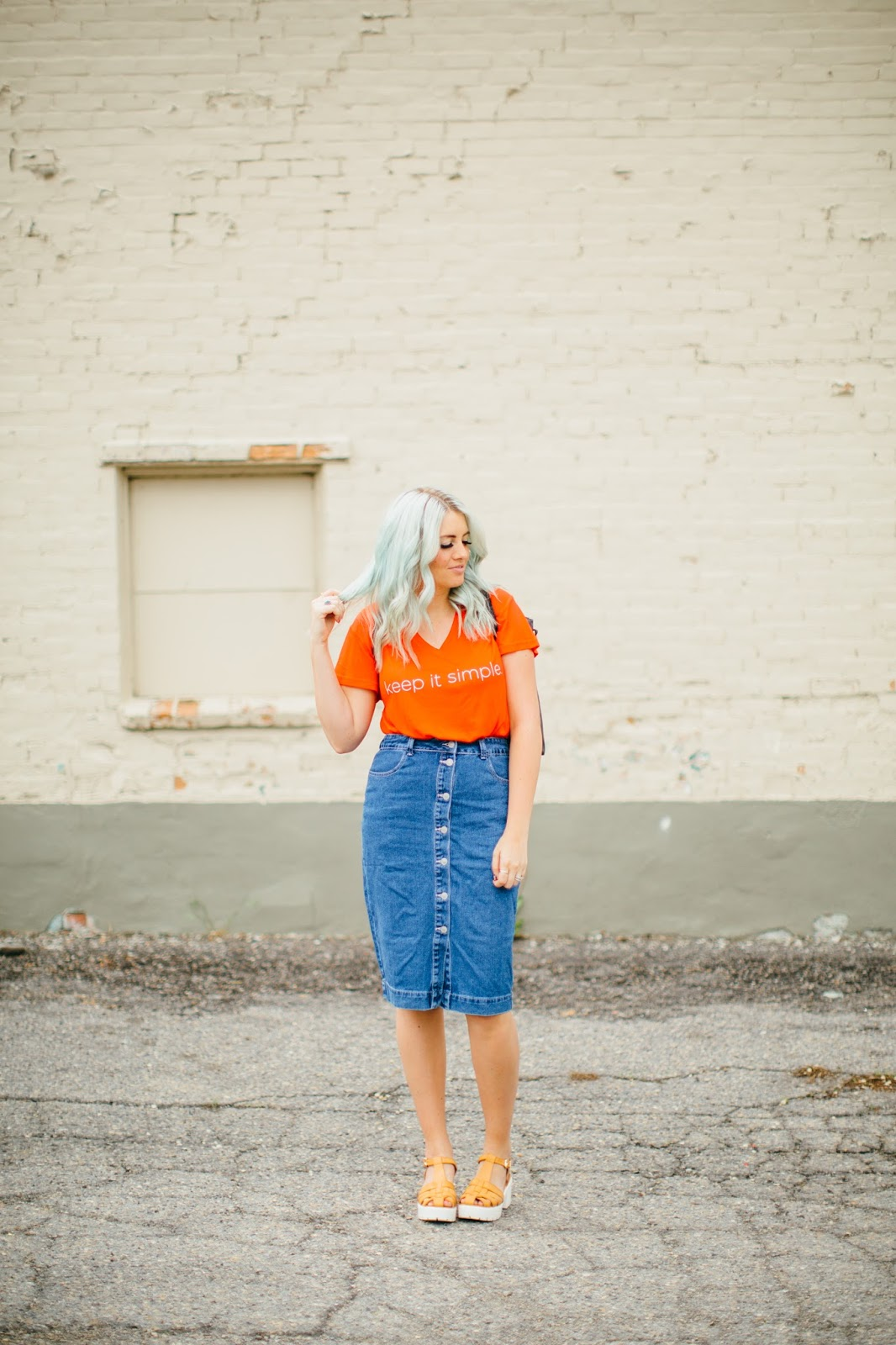 Keep It Simple Shirt, ASOS denim skirt, Utah Fashion Blogger