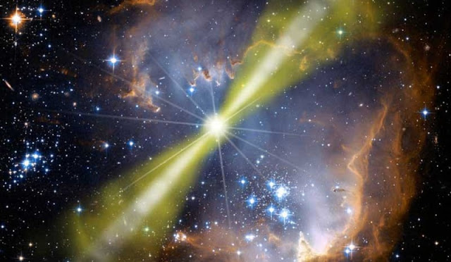 ilustrasi ledakan supernova yang memancarkan sinar gamma ke Bumi