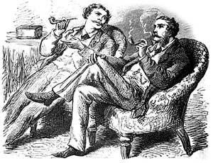 Tabakraucher in Smoking Jackets, Illustration Ende 19. Jahrhundert