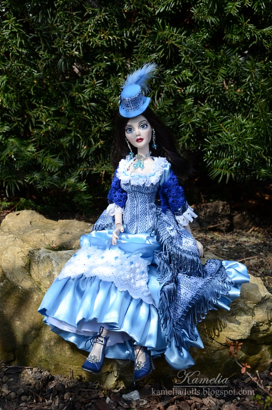 Handmade blue bustle dress for Evangeline Ghastly Wilde Imagination doll.