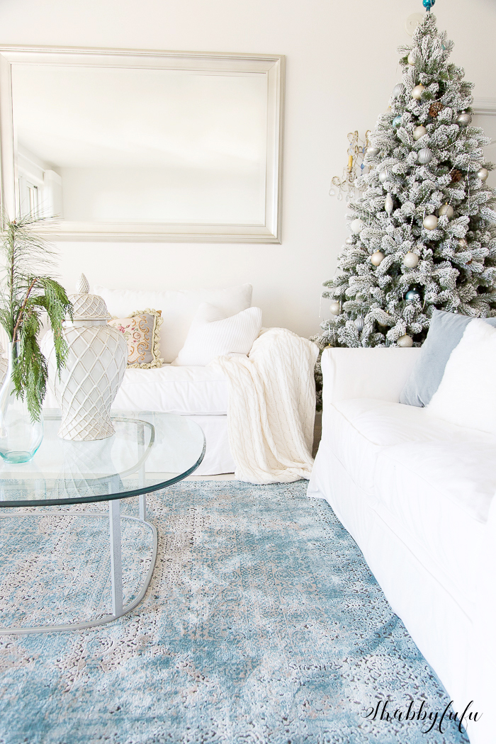 white christmas flocked tree shabbyfufu beach home