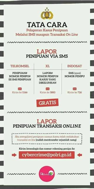 Tata cara pelaporan kasus penipuan melalui SMS maupun transaksi on line