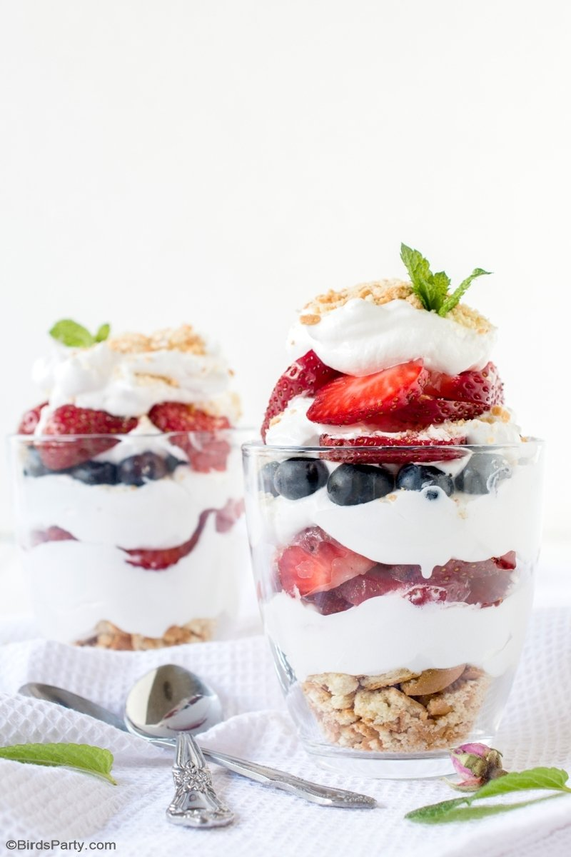 White & Blue Summer Berry Parfaits by BirdsParty.com @birdsparty