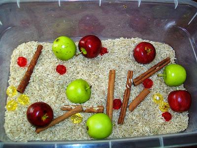 Apple sensory bin