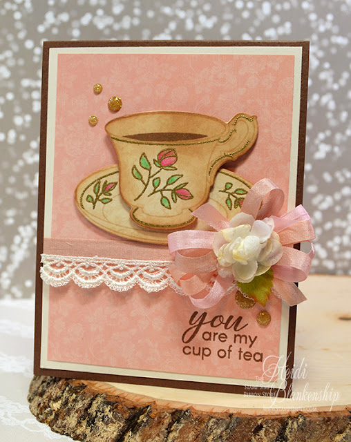 embellished dreams the stamp simply ribbon store my cup of tea card 2017 spring coffee. Black Bedroom Furniture Sets. Home Design Ideas