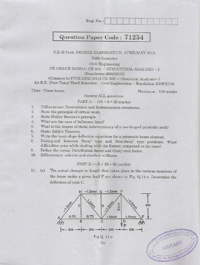 CE2302 Structural Analysis I April May 2015 Question Paper