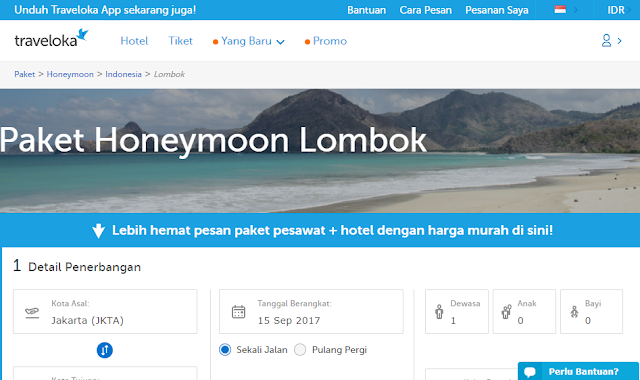 paket honeymoon lombok traveloka